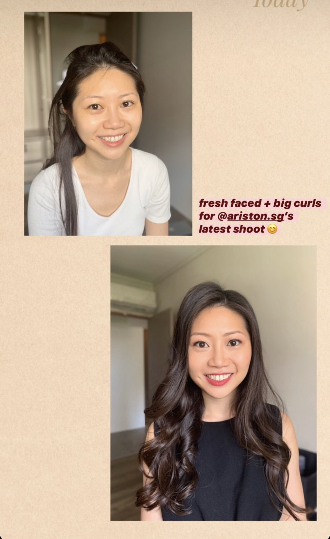 before and after - picture by make up artist Melody