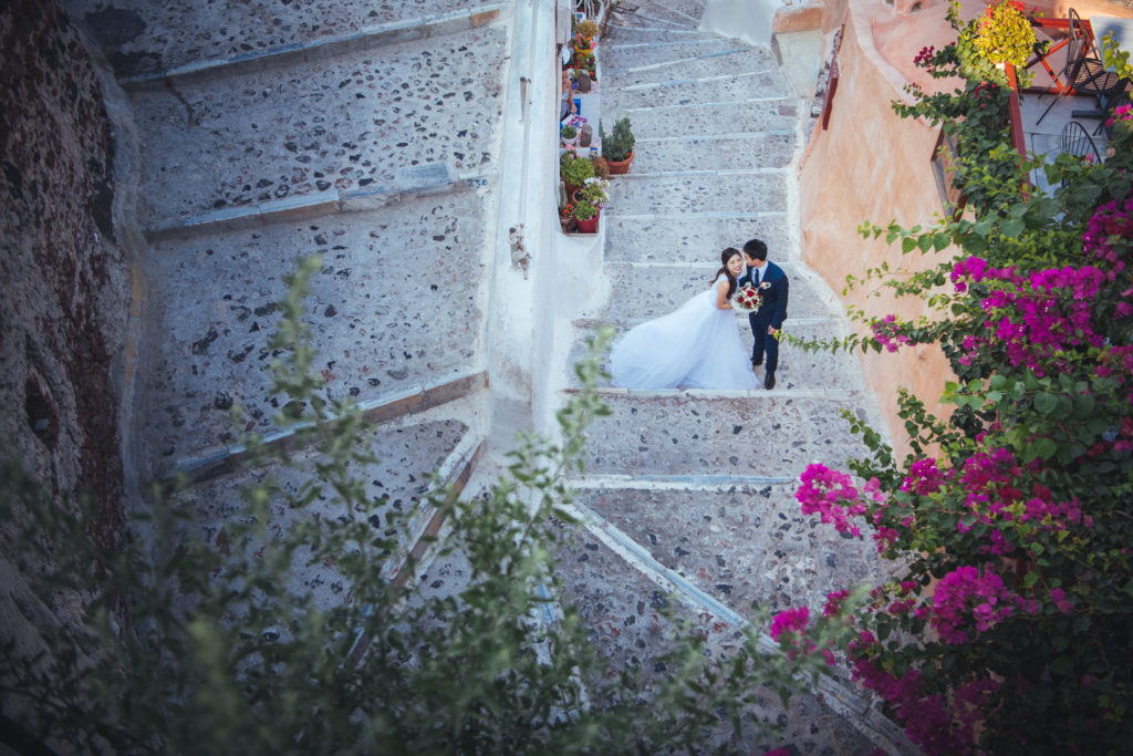 Wedding photo taken in Santorini