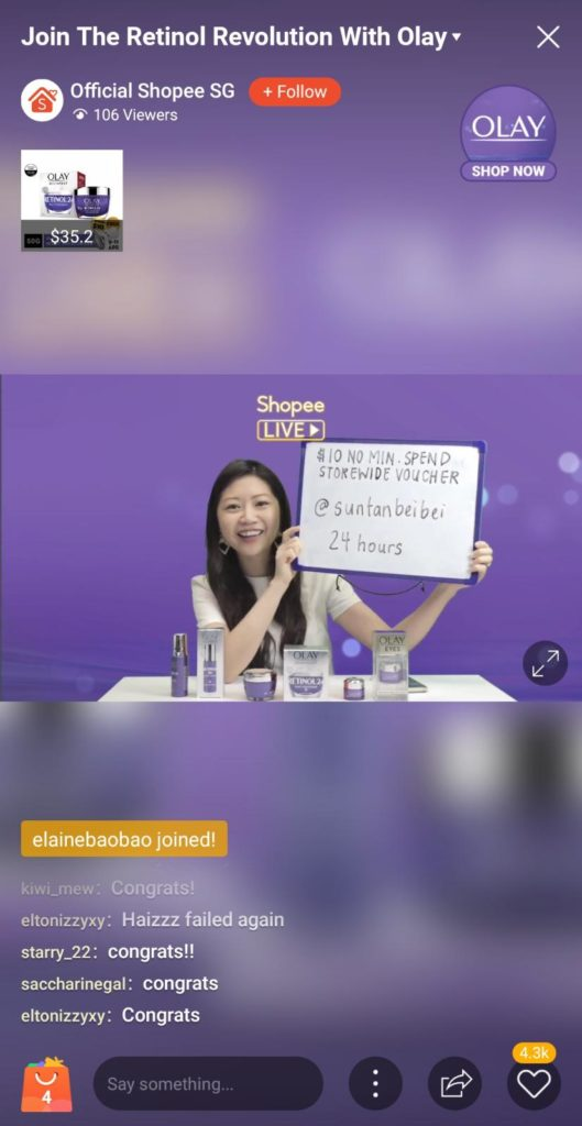 emcee Paige on Shopee Live stream for Olay