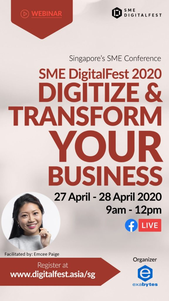 SME DigitalFest 2020 on 27 & 28 April by Exabytes Singapore on Facebook Live