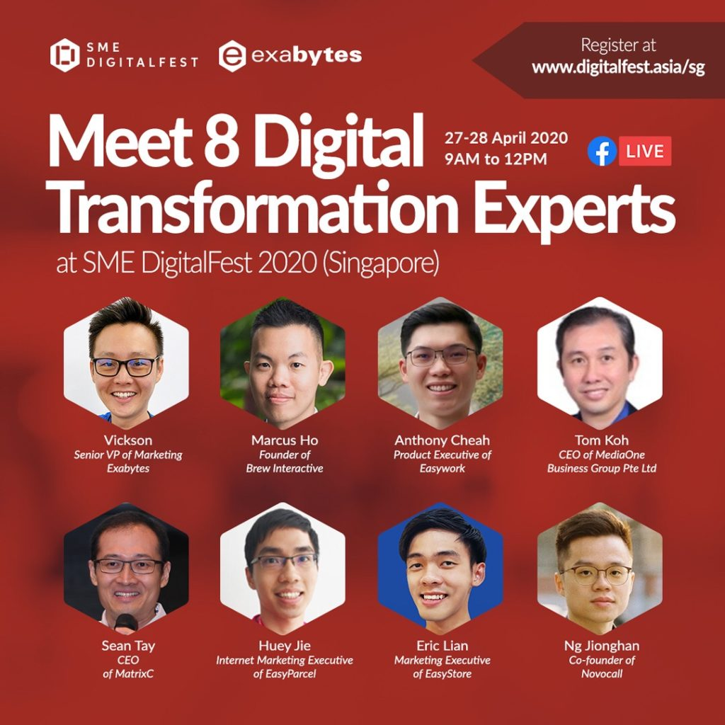 8 speakers for SME DigitalFest 2020 by Exabytes Singapore on Facebook Live