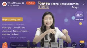 Singapore virtual events emcee for Shopee LiveStream with Olay