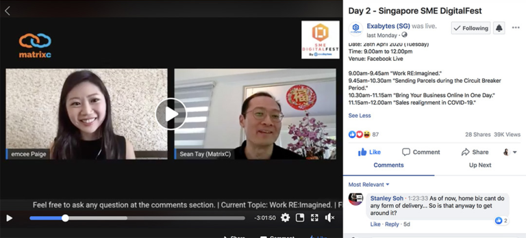 SME DigitalFest by Exabytes- Virtual emcee Paige facilitate livestream FB